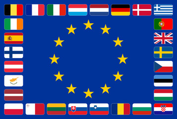 European Union flag with the 28 member state flags