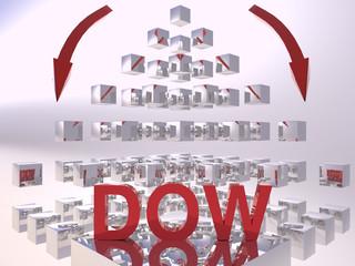 Dow Jones 3D Recession Concept