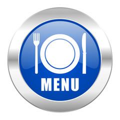 menu blue circle chrome web icon isolated