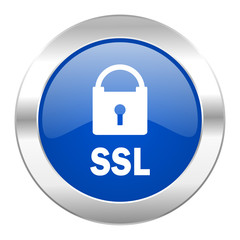 ssl blue circle chrome web icon isolated