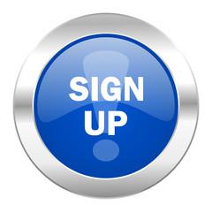 sign up blue circle chrome web icon isolated