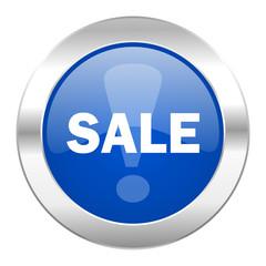 sale blue circle chrome web icon isolated