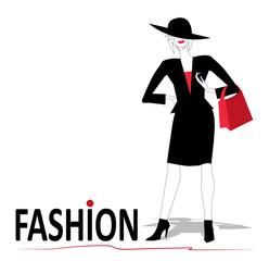 donna fashion su sfondo bianco