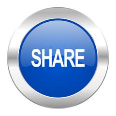 share blue circle chrome web icon isolated