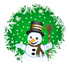 Snowman on a green background
