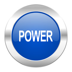 power blue circle chrome web icon isolated