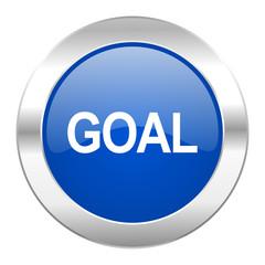 goal blue circle chrome web icon isolated