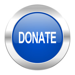 donate blue circle chrome web icon isolated