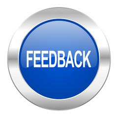 feedback blue circle chrome web icon isolated