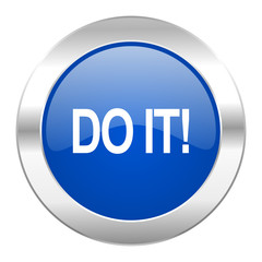 do it blue circle chrome web icon isolated