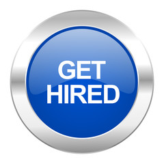 get hired blue circle chrome web icon isolated