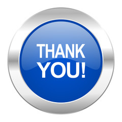 thank you blue circle chrome web icon isolated