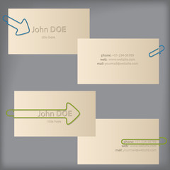 Creative business cards with arrow binder clips