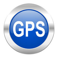 gps blue circle chrome web icon isolated