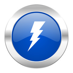 bolt blue circle chrome web icon isolated