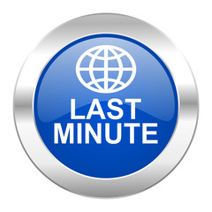 last minute blue circle chrome web icon isolated