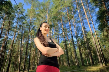 Woman in woodland portrait