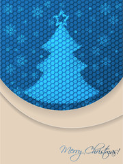Blue christmas greeting card with scribbled tree and hexagon bac