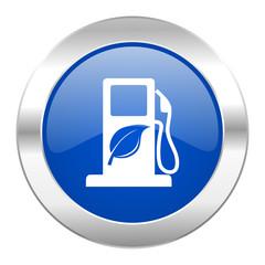 biofuel blue circle chrome web icon isolated