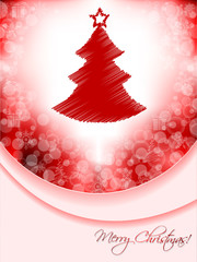 Red christmas greeting card with scribbled tree and bubble backg