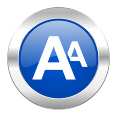 alphabet blue circle chrome web icon isolated