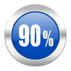 90 percent blue circle chrome web icon isolated