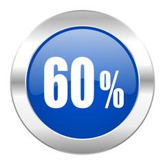 60 percent blue circle chrome web icon isolated