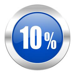 10 percent blue circle chrome web icon isolated