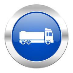 truck blue circle chrome web icon isolated