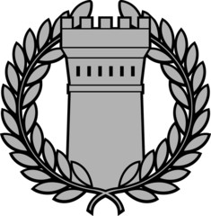 Ancient tower with laurel wreath. first variant