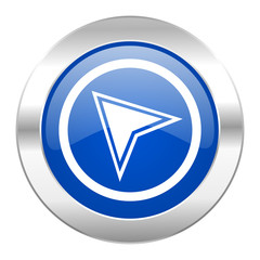 navigation blue circle chrome web icon isolated