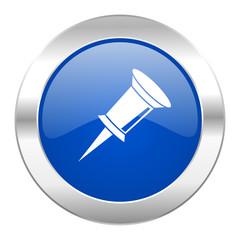 pin blue circle chrome web icon isolated