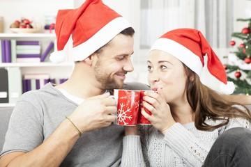 young christmas couple enjoy time together