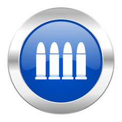 ammunition blue circle chrome web icon isolated