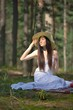 Beautiful caucasian woman in forest