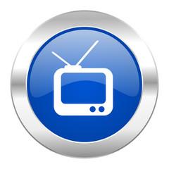 tv blue circle chrome web icon isolated
