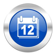 calendar blue circle chrome web icon isolated
