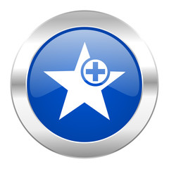 star blue circle chrome web icon isolated