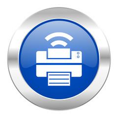 printer blue circle chrome web icon isolated