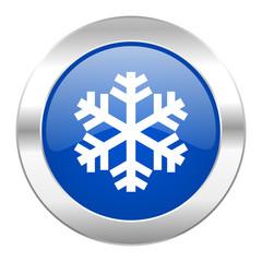 snow blue circle chrome web icon isolated