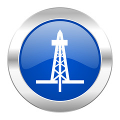 drilling blue circle chrome web icon isolated