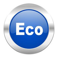 eco blue circle chrome web icon isolated