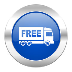 free delivery blue circle chrome web icon isolated