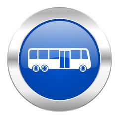 bus blue circle chrome web icon isolated