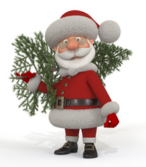 3d Santa Claus with a fir-tree