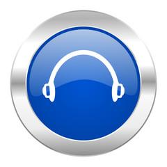 headphones blue circle chrome web icon isolated