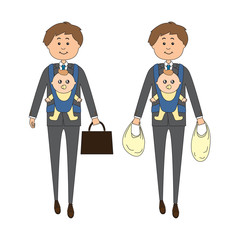 A businessman carrying a baby on his way back from work/shopping