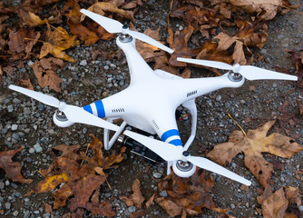 Photo drone on the ground amongst autumn leaves