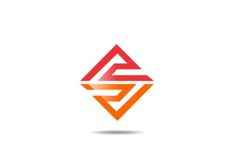 icon red orange  abstract square geometry construction logo