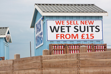 Deck chairs and wet suits available